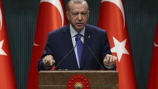 Le président turc Recep Tayyip Erdogan lors d'un discours à Ankara en Turquie, le 20 octobre 2020. (DOGUKAN KESKINKILIC / ANADOLU AGENCY / AFP)
