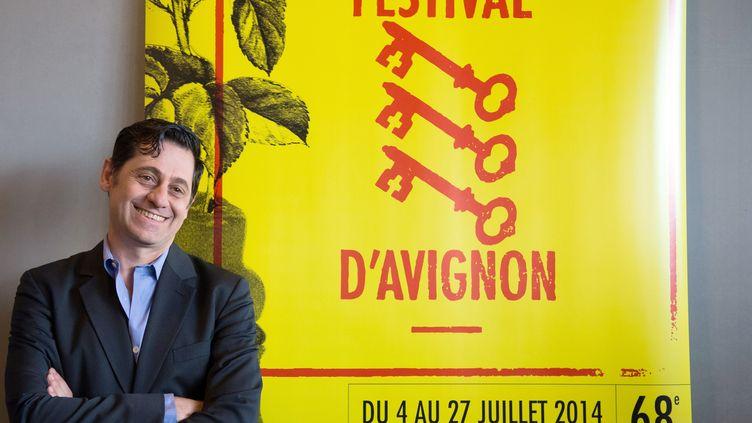 Le directeur du festival d'Avignon, Olivier Py, lors d'une conférence de présentation,le 20 mars 2014. (BERTRAND LANGLOIS / AFP)