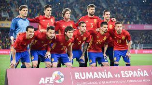 L'équipe nationale d'Espagne avant un match amical contre la Roumanie, le 27 mars 2016 à Cluj-Napoca (Roumanie). (CATALIN SOARE / NURPHOTO / AFP)