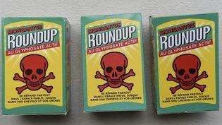 Des fausses boîtes du désherbant Roundup, en soutien au maire de Langouet (Ille-et-Vilaine) poursuivi pour avoir interdit des pesticides à proximité de maisons de sa commune. (SEBASTIEN SALOM-GOMIS / AFP)