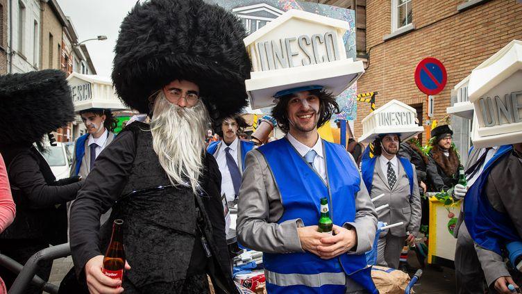 La parade du Carnaval d'Alost, dans les rues de la ville belge, le 23 février 2020. (JAMES ARTHUR GEKIERE / BELGA MAG)