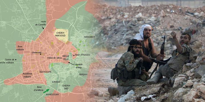 Des combattants rebelles de Jaïch-al-Fatah lors de la percée de l'école d'artillerie au sud d'Alep le 6 août 2016. (THAER MOHAMMED / AFP)