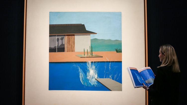 """""""The Splash"""" du peintre britannique David Hockney vendue 27,4 millions d'euros à Londres, le 11 février 2020 (SOPA IMAGES / LIGHTROCKET)"""