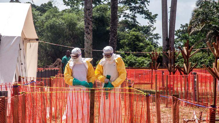Des agents de santé opèrent dans une zone de sécurité Ebola du centre de santé d'Iyonda, près de Mbandaka, le 1er juin 2018. (JUNIOR D. KANNAH / AFP)