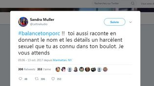 Le tweet initial de Sandra Muller qui a lancé le mot clé #balancetonporc. (CAPTURE D'ÉCRAN / TWITTER)