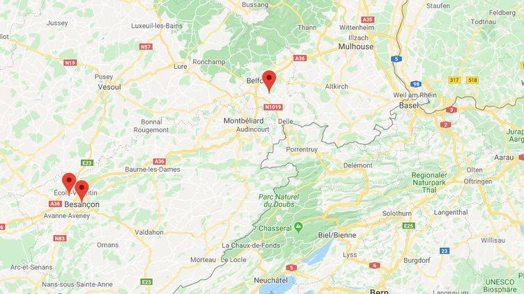 Les suspects ont commis au moins onze braquagesà Besançon et dans son agglomération : à Pirey, à Frasnois et jusque dans le territoire de Belfort, en février dernier. (CAPTURE D'ECRAN GOOGLE MAPS)