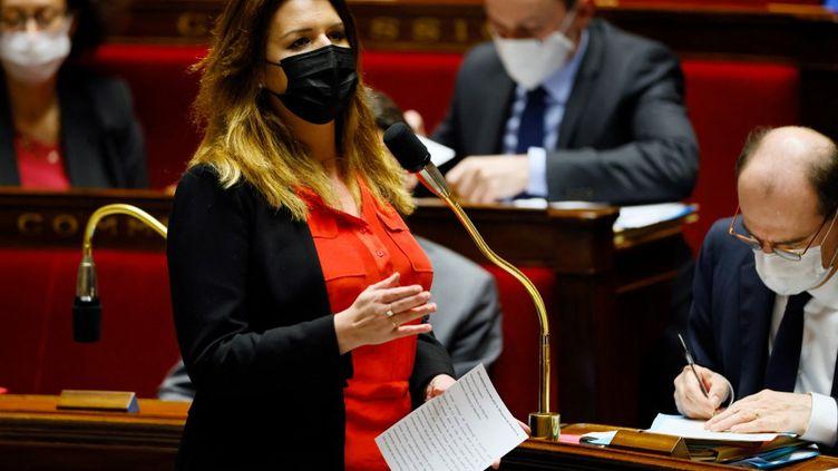 La ministre déléguée à la Citoyenneté, Marlène Schiappa, à l'Assemblée nationale, le 23 mars 2021. (THOMAS SAMSON / AFP)