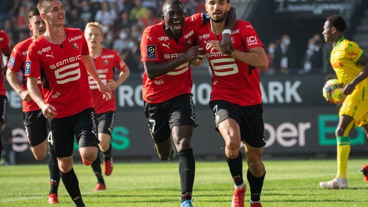 Martin Terrier a permis à Rennes de l'emporter face à Nantes (1-0). (LOIC VENANCE / AFP)