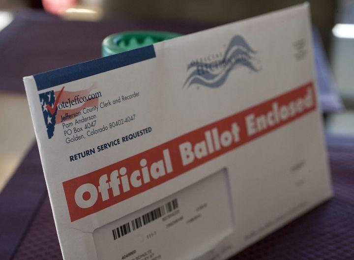 Une enveloppe pour le vote par correspondance pour la présidentielle de 2012 dans le Colorado. (MAXPPP)