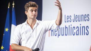 Guilhem Carayon, président des jeunes Républicains, le 5 septembre 2021 pour la rentrée politique du parti. (VINCENT ISORE / MAXPPP)