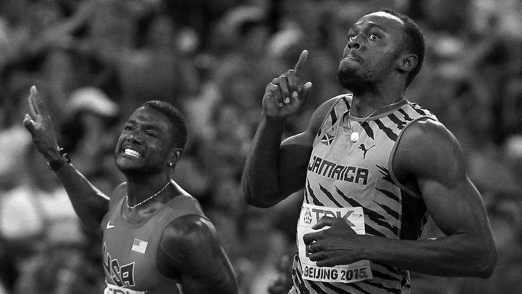 Le match Bolt/Gatlin est l'affiche du 100m des JO de Rio (ADRIAN DENNIS / AFP)