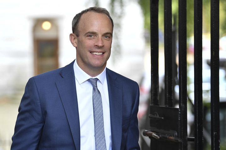 Dominic Raab, ancien ministre du Brexit arrive au 10 Downing Street à Londres le 5 septembre 2019. (DANIEL LEAL-OLIVAS / AFP)