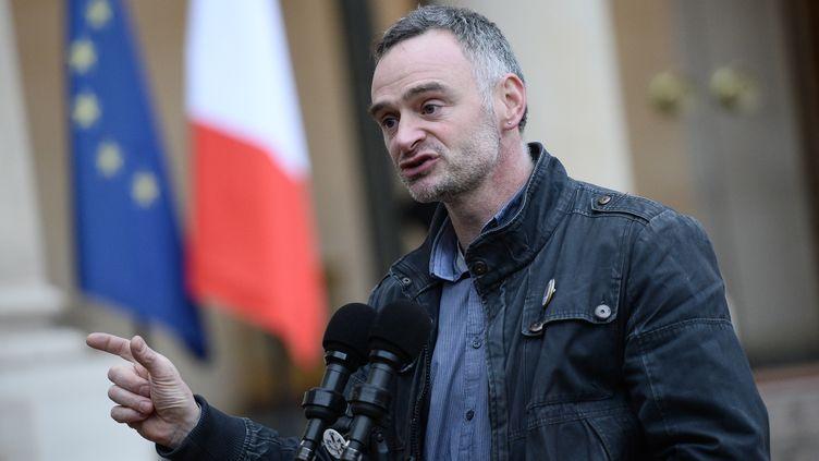 Laurent Pinatel, le porte-parole de la Confédération paysanne, en février 2016. (STEPHANE DE SAKUTIN / AFP)