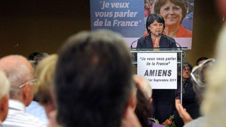 Martine Aubry parle d'Education à Amiens le 1er septembre 2011 (AFP/PHILIPPE HUGUEN)