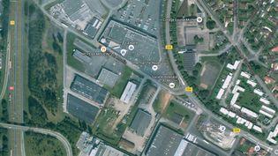 Capture d'écran Google maps de la zone où s'est déroulée la fusillade, à Roye (Somme), mardi 25 août. (FRANCETV INFO / GOOGLE MAPS)