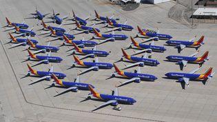 Des Boeing 737 Max de la compagnie aérienne Southwest Airlines, à l'aéroport de Victorville, en Californie (Etats-Unis), le 28 mars 2019. (MARK RALSTON / AFP)