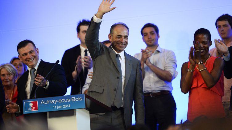 Le président démissionnaire de l'UMP, Jean-François Copé, en meeting à Aulnay-sous-Bois (Seine-Saint-Denis), le 11 juin 2014. (ERIC FEFERBERG / AFP)