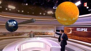 Nicolas Chateauneuf de France 2 aidé d'une animation en 3D, le 17 mars 2015 (FRANCE 2)