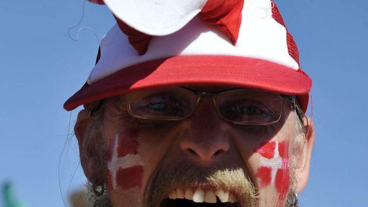 Un supporter danois bien remonté lors de la Coupe du monde 2010. (ISSOUF SANOGO / AFP)