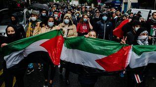 Une manifestation en soutien à Gaza à Paris, le 15 mai 2021. (JAN SCHMIDT-WHITLEY/LE PICTORIUM / MAXPPP)