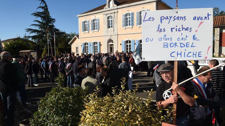 Des manifestants de la filière avicole et des élus ont manifesté, samedi 7 octobre 2017, à Castelnau-Chalosse (Landes). (MEHDI FEDOUACH / AFP)
