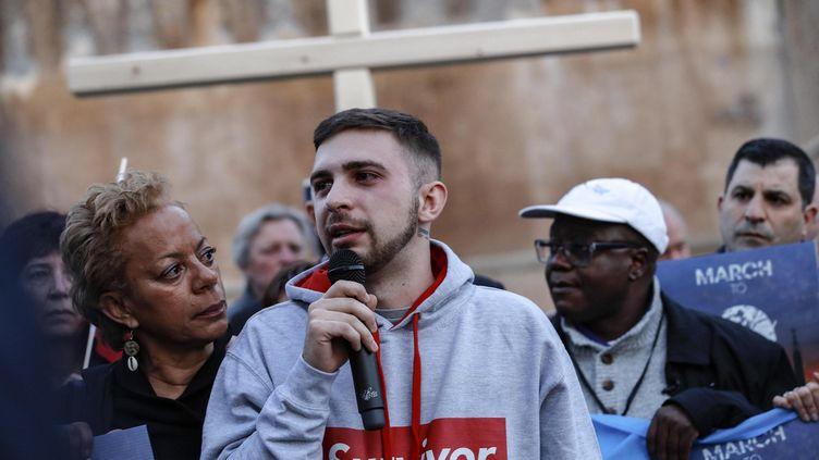 Alessandro Battaglia, une victime d'abus sexuel, témoigne à Rome (Italie), le 21 février 2019. (MAXPPP)