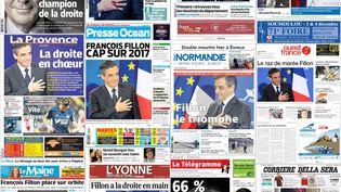 Montage des unes de la presse datées du 28 novembre 2016 après la victoire de François Fillon à la primaire de la droite. (DR)