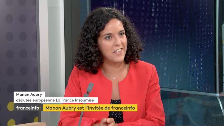 L'eurodéputée La France Insoumise Manon Aubry invitée sur franceinfo (RADIO FRANCE)
