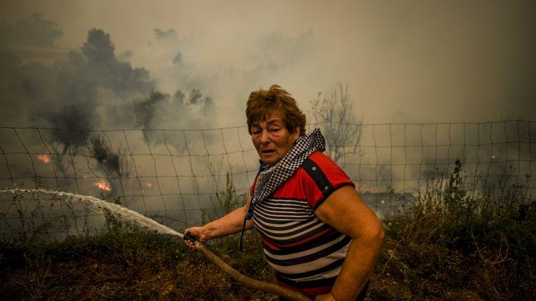 Une villageoise tente d'éteindre un incendie à Roda, au Portugal, le 21 juillet 2019. (PATRICIA DE MELO MOREIRA / AFP)