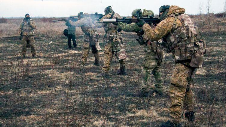 Des soldats ukrainiens s'entraînent près deKharkov (Ukraine), le 12 novembre 2014. (SOFIA BOBOK / AFP)
