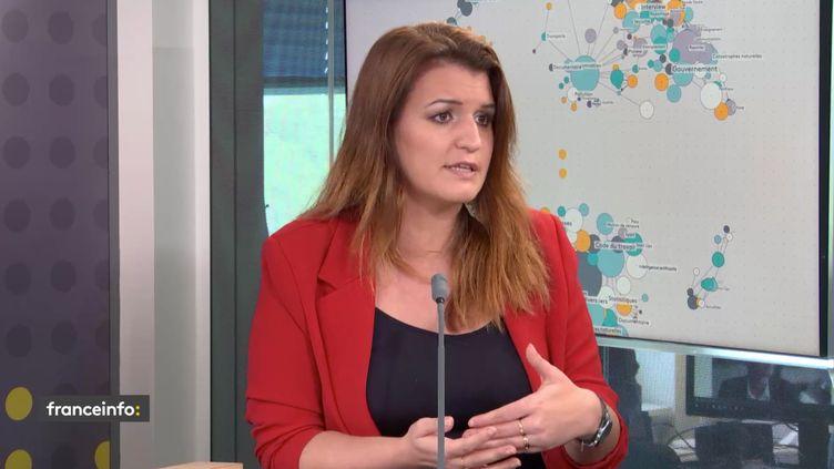 Marlène Schiappa, ministre déléguée chargée de la Citoyenneté, était l'invitée du 18h50 franceinfo le mercredi 12 avril 2021. (FRANCEINFO / RADIOFRANCE)