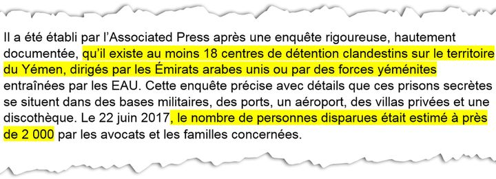 Extrait de la plainte déposée, lundi 9 avril, à Paris, contre le prince héritier d'Arabie saoudite. (RADIO FRANCE)