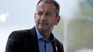 Le secrétaire de Force ouvrière (FO), Pascal Pavageau, au meeting du Medef à Jouy-en-Josas (Yvelines), le 29 août 2018. (ERIC PIERMONT / AFP)