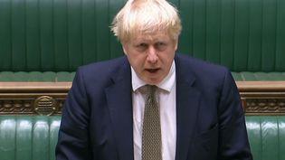 Le Premier ministre britannique, Boris Johnson, lors d'un discours sur la situation sanitaire, à la Chambre des communes, le 12 octobre 2020. (- / AFP)