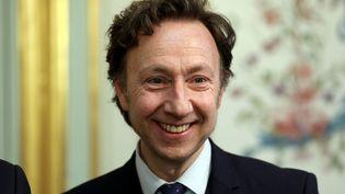 """Stéphane Bern le 13 février à l'Élysée lors de la signature de la convention d'organisation du """"Loto du patrimoine"""". (MAXPPP)"""
