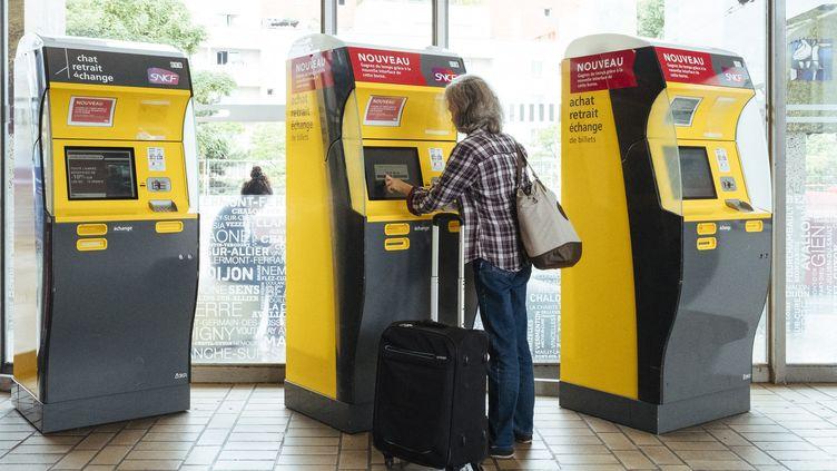 Des bornes automatiques de billets à la gare de Bercy, à Paris, le 30 mai 2017. (DENIS MEYER / HANS LUCAS)