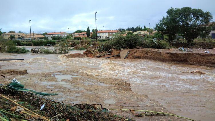 La commune deVillegailhenc inondée le 15 octobre 2018. (STEPHANE IGLESIS / FRANCEINFO)