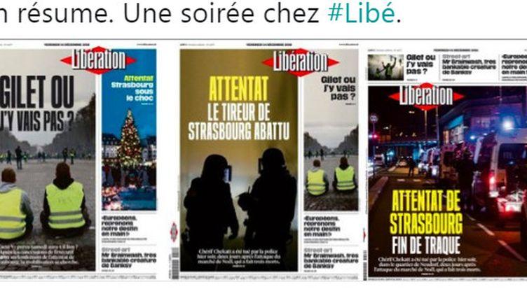 Capture d'écran des trois unes de Libération relayées sur Twitter le 13 décembre 2018. (LIBERATION / TWITTER)