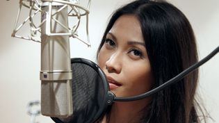 La chanteuse Anggun représentera les couleurs de la France au prochain concours de l'Eurovision, le 26 mai 2012. (FRANCOIS GUILLOT /AFP PHOTO)