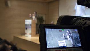François Fillon le 16 octobre 2013au colloque organisé par la GCCP et la CSEEE sur le thème - Le bâtiment, moteur de la reprise economique. (XAVIER DE TORRES / MAXPPP)