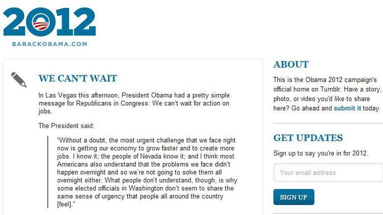 Capture d'écran du Tumblr de Barack Obama, lancé lundi 25 octobre. (DR)