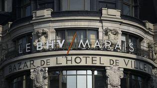 La devanture du BHV-Marais, grand magasin parisien où un accord sur le travail dominical a été conclu, le 3 mai 2016. (MARTIN BUREAU / AFP)