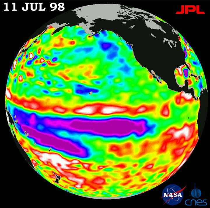 Image de la température de l'océan par le satellite Topex poséidon (Reuters/ str news)