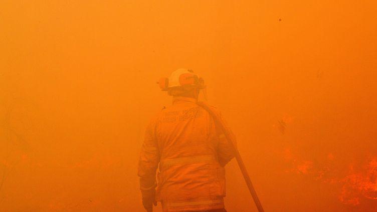 Un pompier australien lutte pour éteindre les feux de forêt qui ravagent l'est de l'Australie depuis le mois de septembre 2019. (SAEED KHAN / AFP)