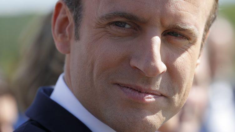 Emmanuel Macron à Moisson (Yvelines), le 3 août 2017. (PHILIPPE WOJAZER / AFP)