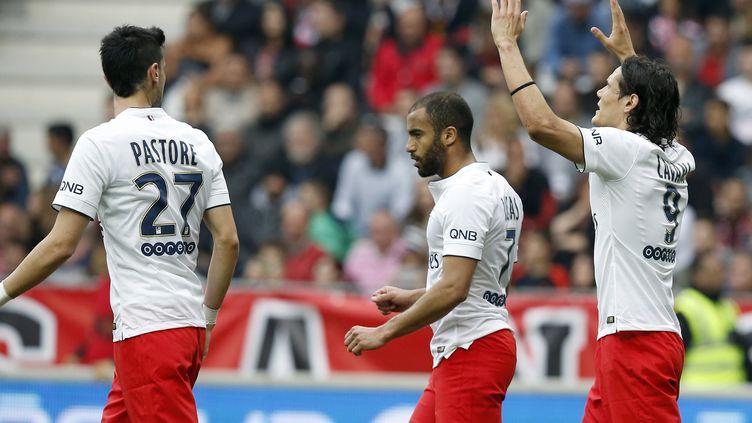 Les Parisiens Javier Pastore, Lucas et Edinson Cavani (VALERY HACHE / AFP)