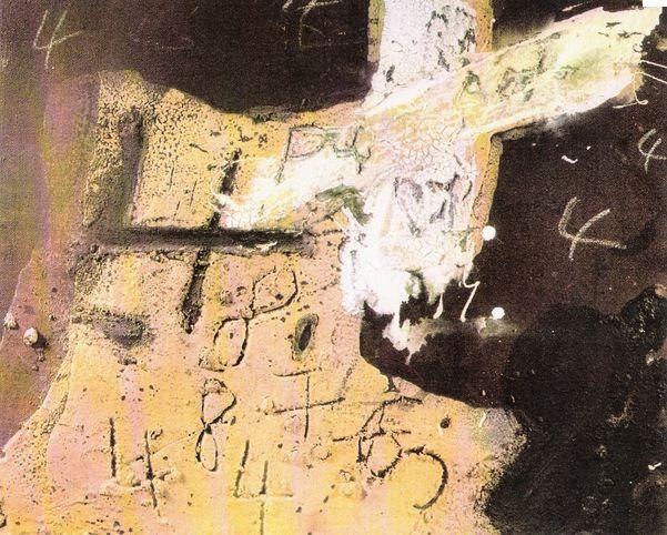 """Extrait du tableau """"Ocre, marron et blanc au quatre"""" d'Antoni Tàpies (1972). (FTVi)"""
