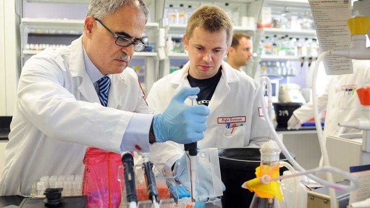 Les chercheurs Kamel Khalili (à g.) etRafal Kaminski, spécialistes du VIH, dans un laboratoire à Philadelphie (Etats-Unis), le 31 juillet 2014. (WILLIAM THOMAS CAIN / GETTY IMAGES NORTH AMERICA : AFP)