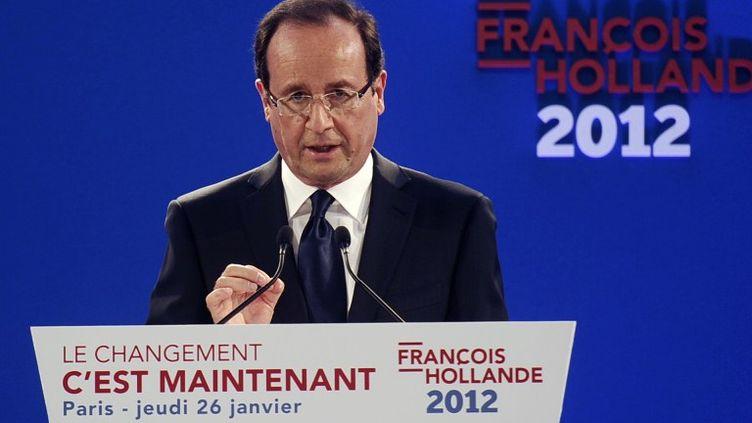 Le candidat PS à la présidentielle, François Hollande, lors de la présentation de son programme le 26 janvier 2012 à la Maison des Métallos, à Paris. (FRED DUFOUR / AFP)
