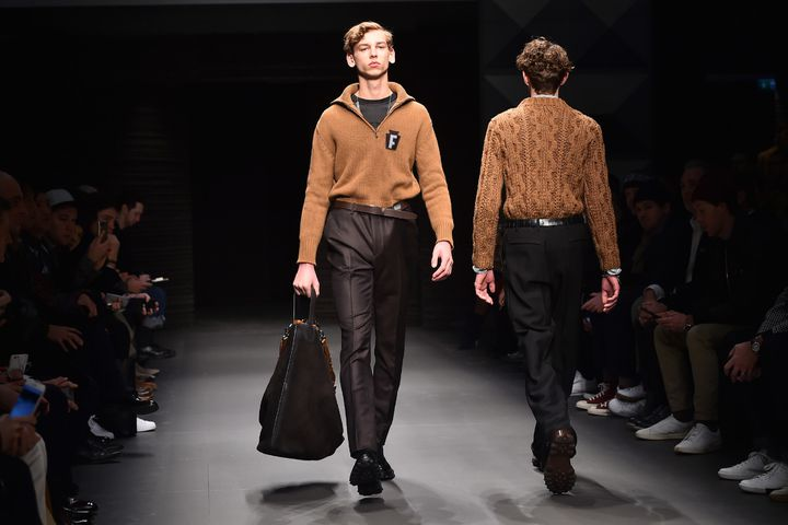 Ferragamo, collection prêt-à-porter masculin automne-hiver 2017-2018.  (GIUSEPPE CACACE / AFP)
